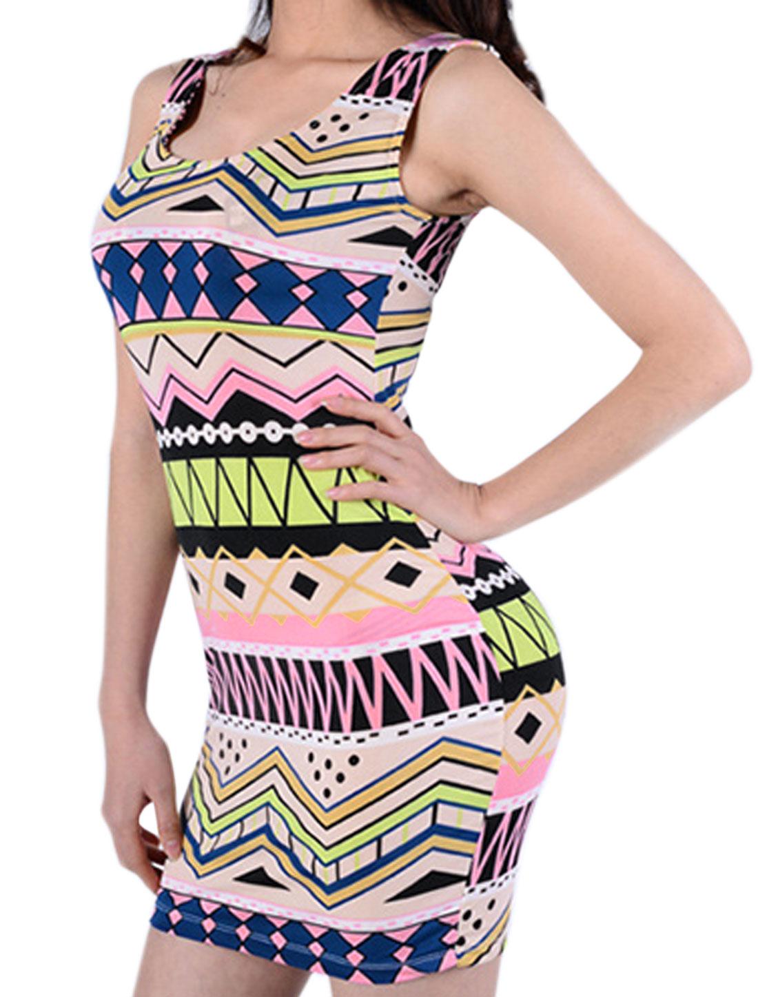 Women Scoop Neck Geometric Bodycon Dress w Tanga Multi-Color XS