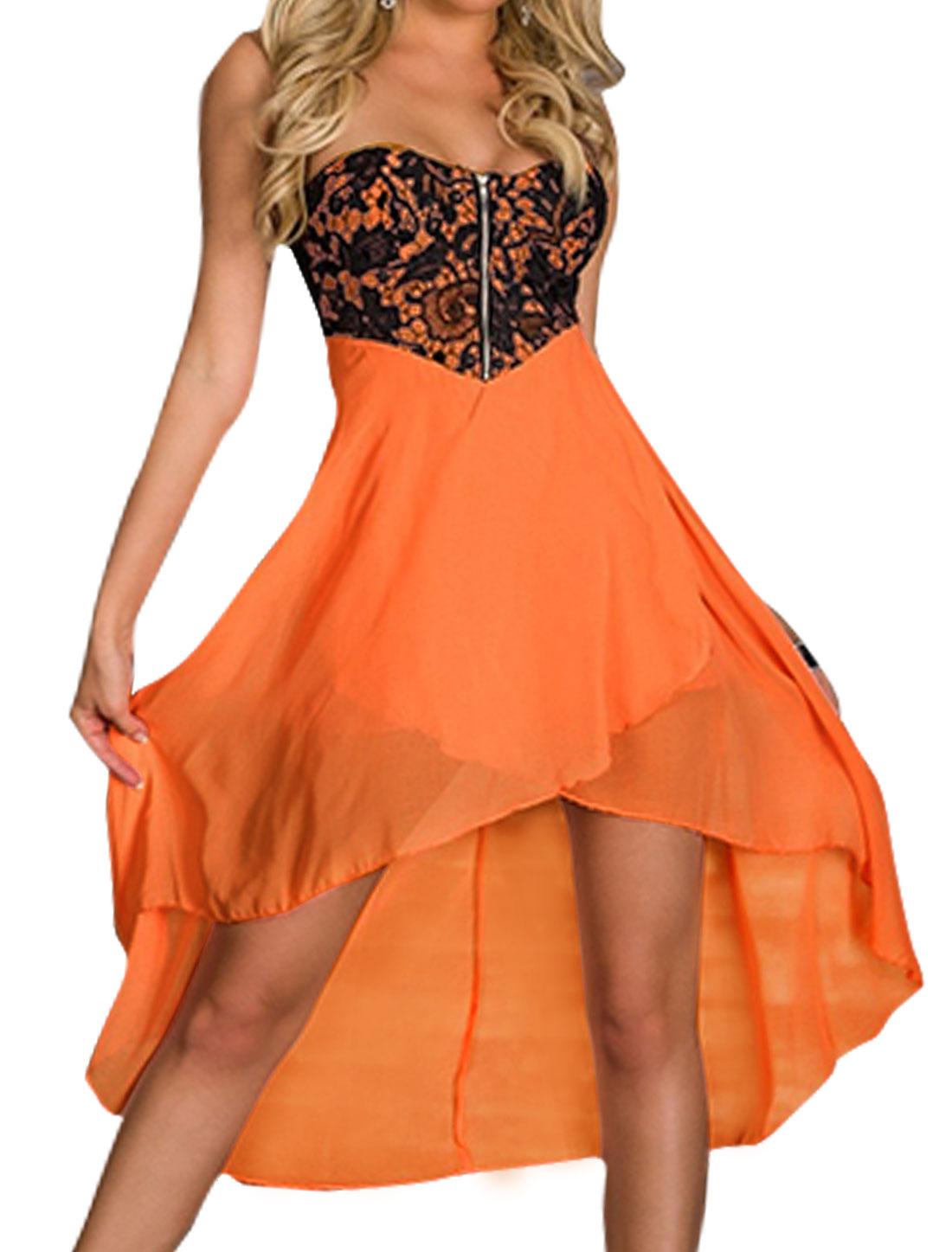Women Crochet Upper Split Front High Low Hem Strapless Dress Orange S