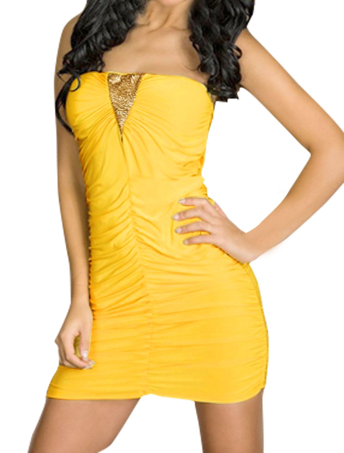 Women Sequins Decor Ruched Mini Tube Dress w T-Back Yellow XS