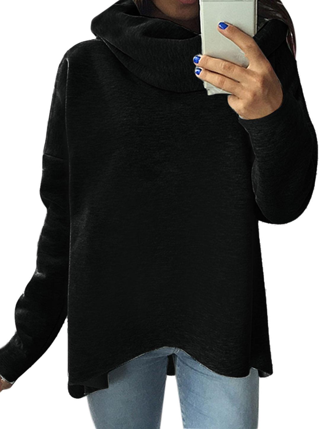 Women Cowl Neck Dolman Sleeves Hi-Lo Sweatshirt Black S