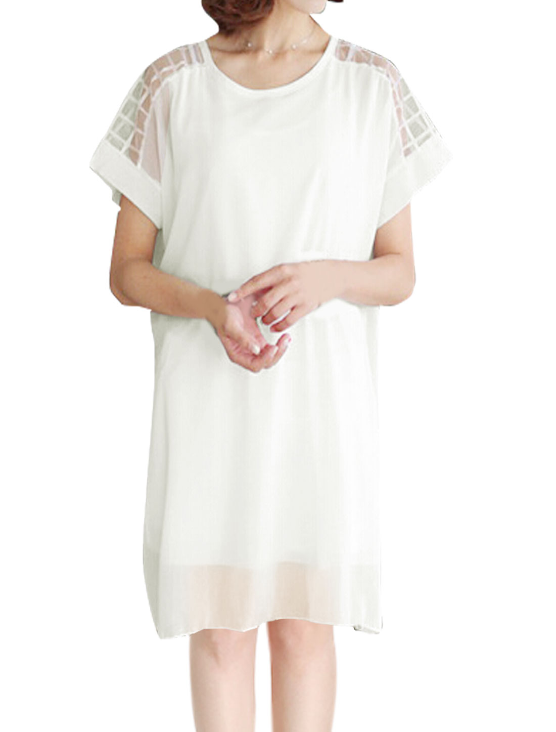 Woman Mesh Panel Plaids Design Loose Tunic Chiffon Top White XS