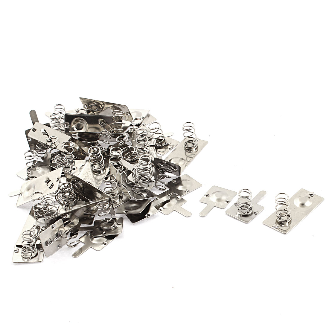Metal AA Battery Connecting Spring Contact Plate Terminal Silver Tone 18pcs
