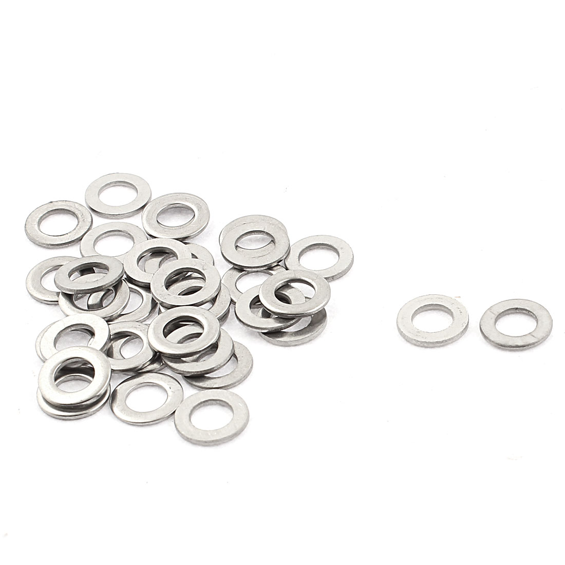 M5 x 10mm x 1mm Stainless Steel Flat Pad Washer Gasket Silver Tone 34pcs