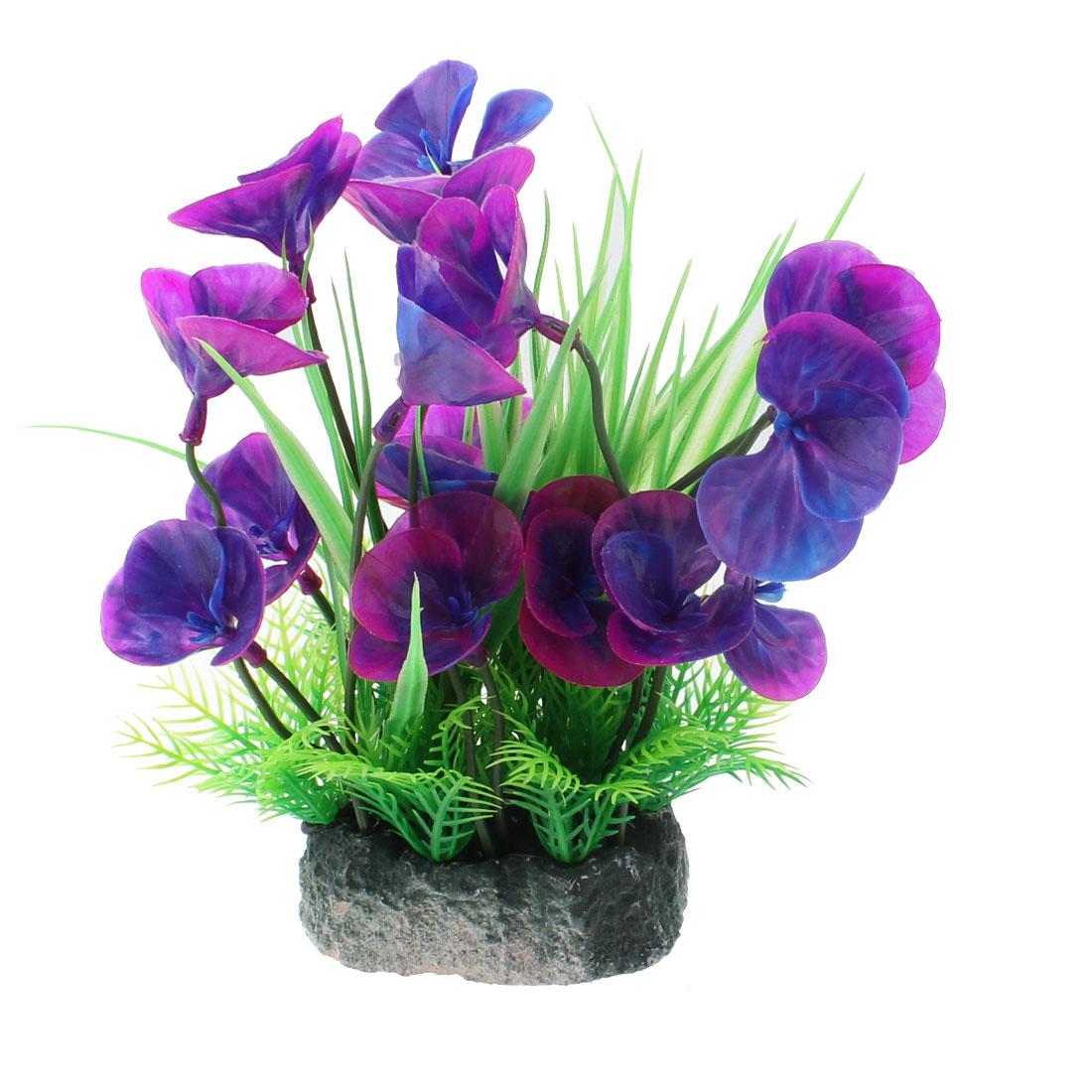 Aquarium Fish Tank Artificial Plastic Water Plant Grass Decor Ornament Purple