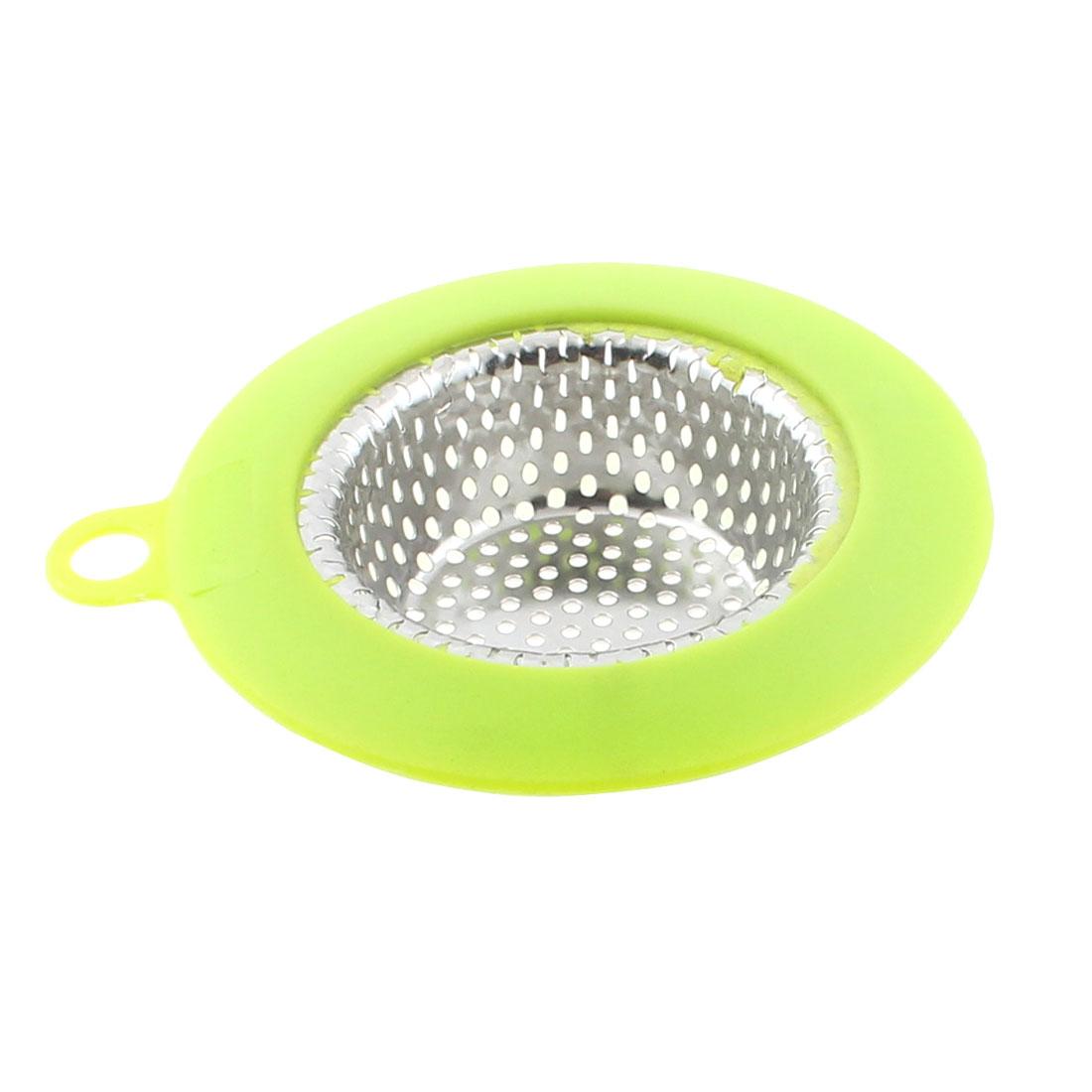 9cm Dia Home Kitchen Sink Basin Drain Waste Filter Strainer Silver Tone Green
