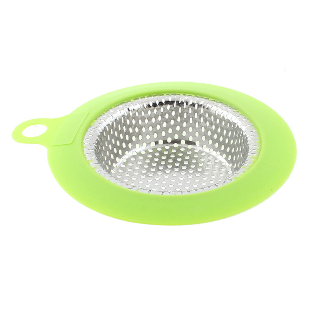 113mm Dia Home Kitchen Sink Basin Drain Waste Filter Strainer Silver Tone Green