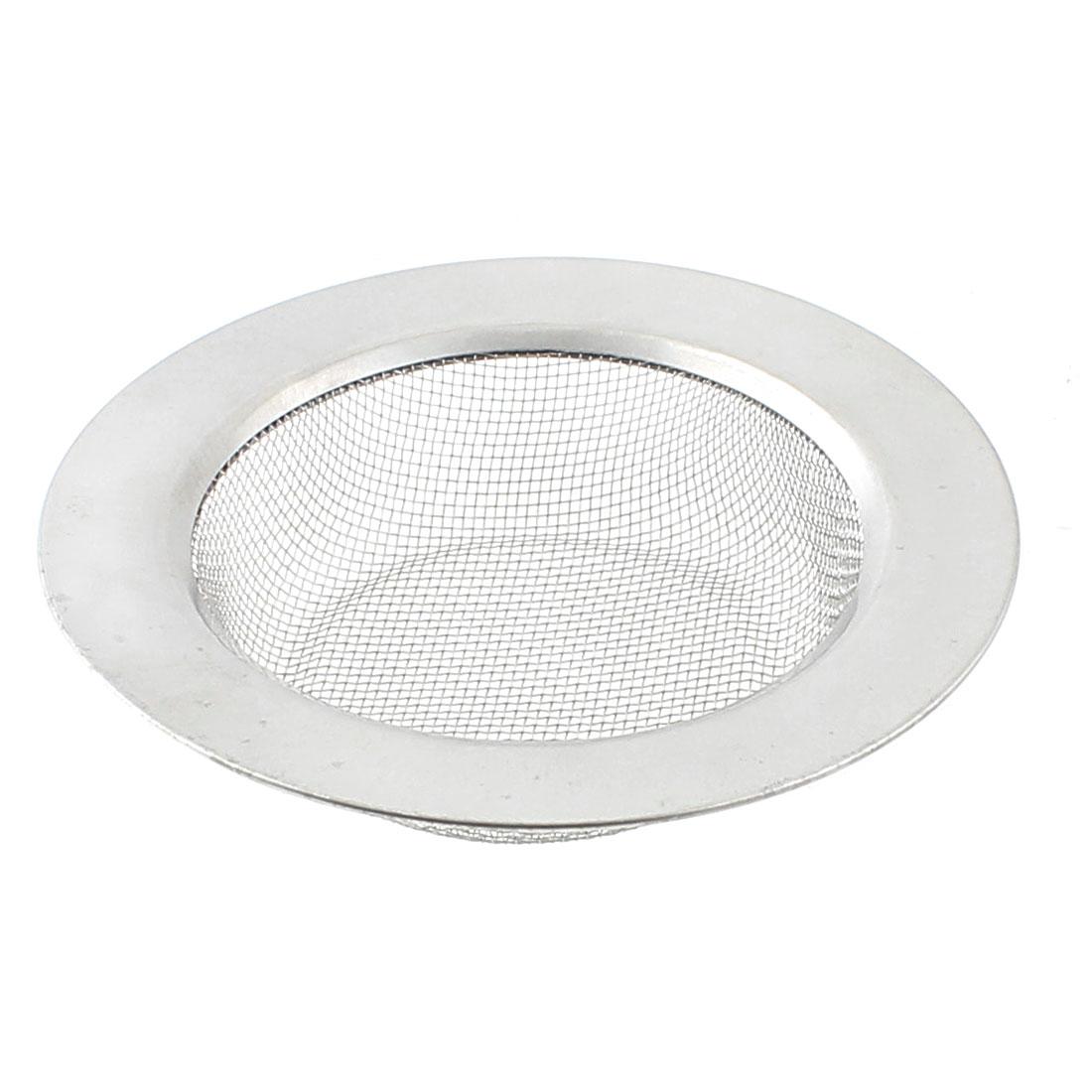 113mm Dia Home Kitchen Sink Basin Drain Waste Filter Strainer Basket Silver Tone