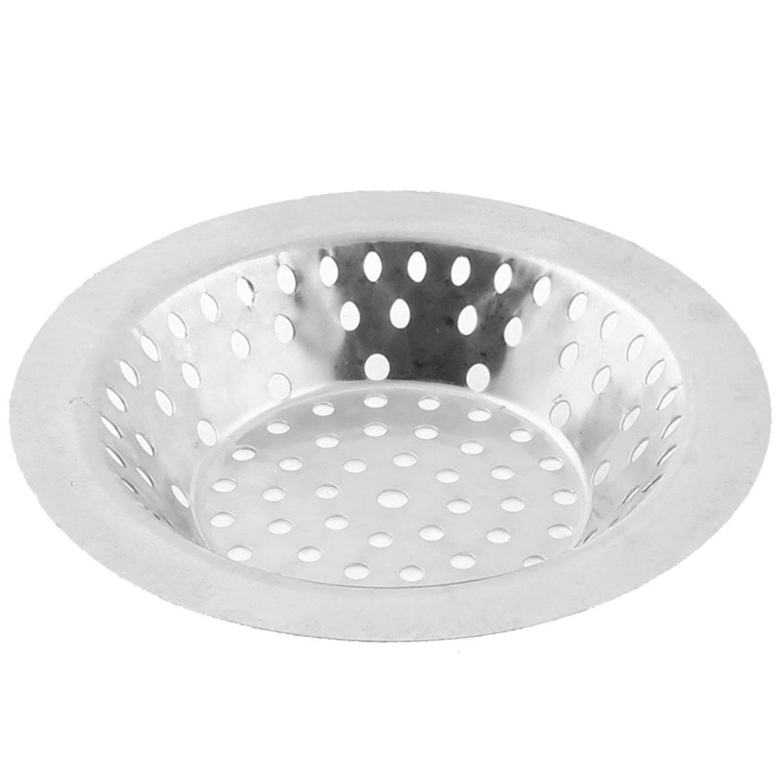 10.6cm Dia Home Kitchen Sink Basin Drain Waste Filter Strainer Basket Silver Tone
