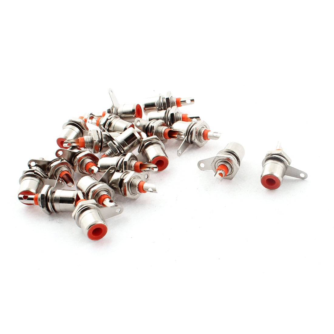Amplifier Chassis Audio Video RCA Female Jack Socket Connector Silver Tone 20pcs