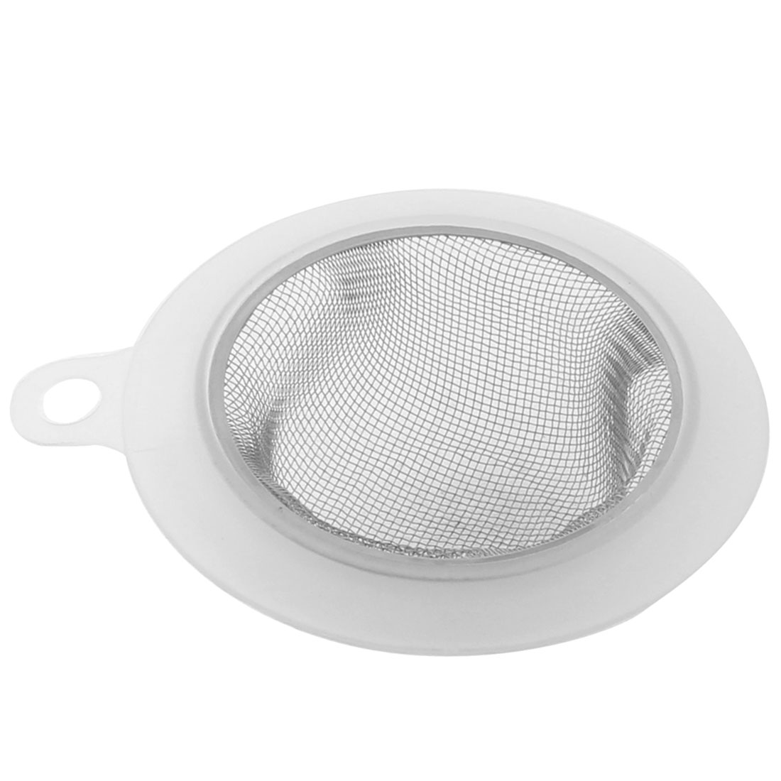 9cm Dia Home Kitchen Sink Basin Drain Waste Filter Strainer Silver Tone Clear