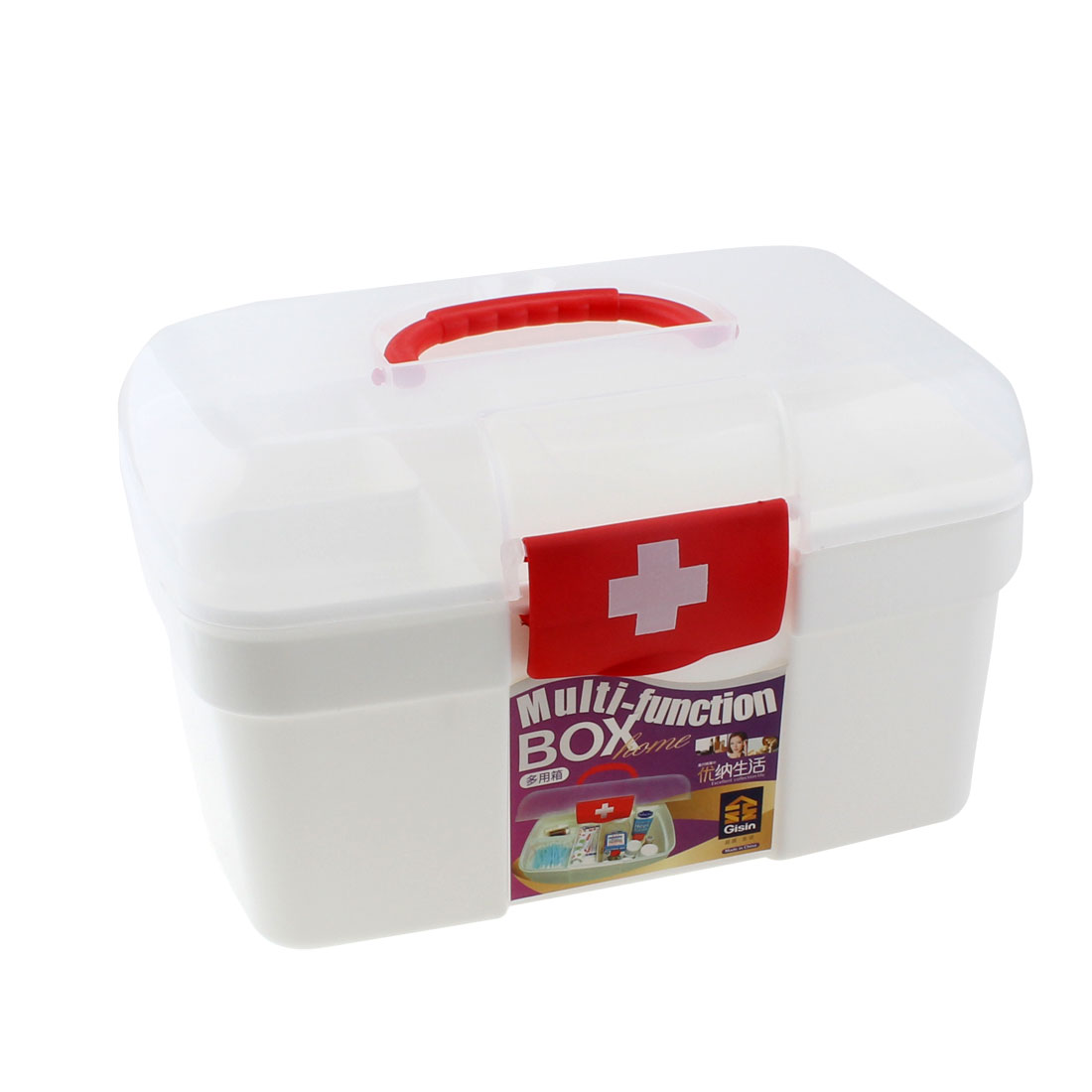 Plastic Household Medicine Pill Tablet Storage Chest Box Case Container White