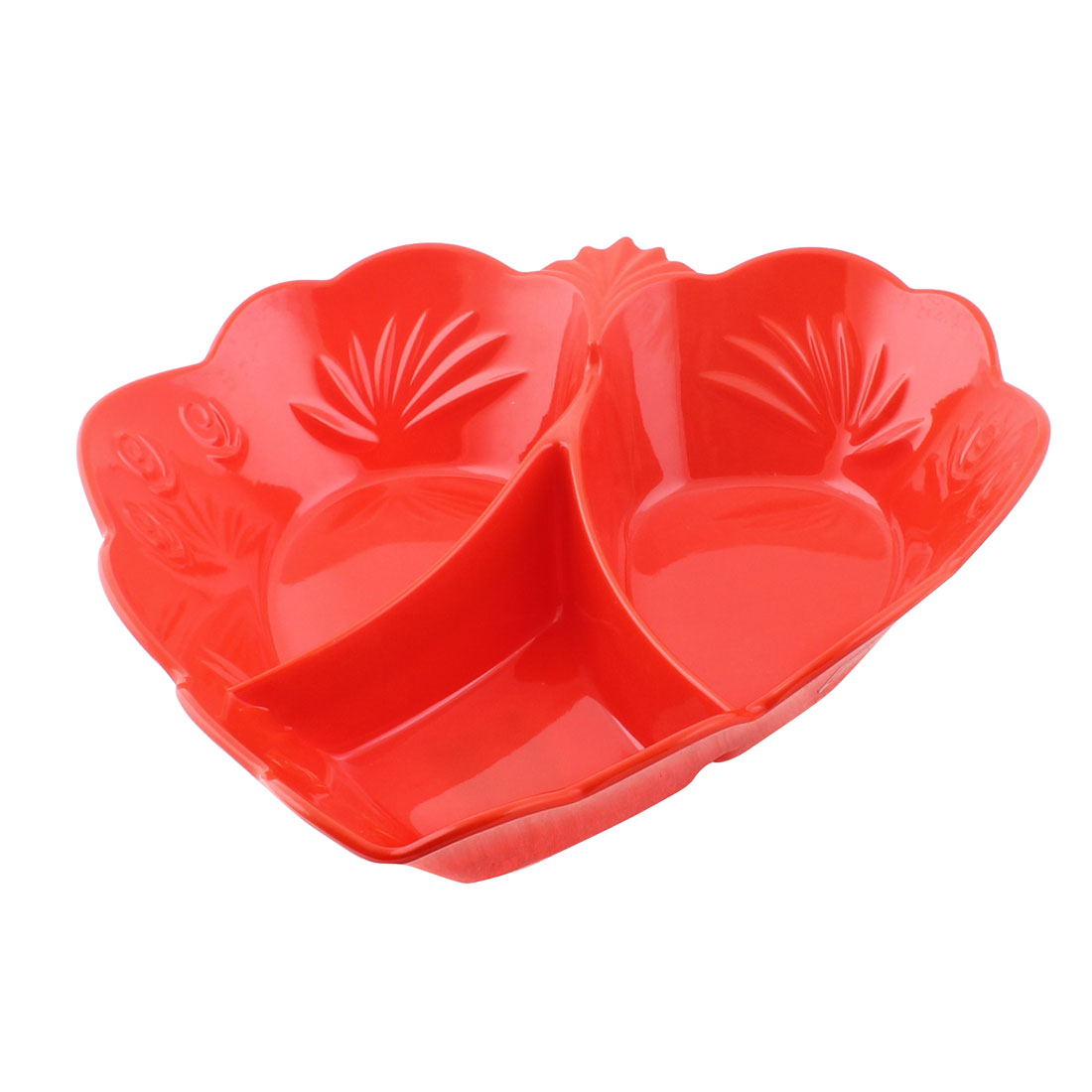 Plastic 3 Compartments Fruit Candy Snack Nuts Storage Tray Plate Holder Red