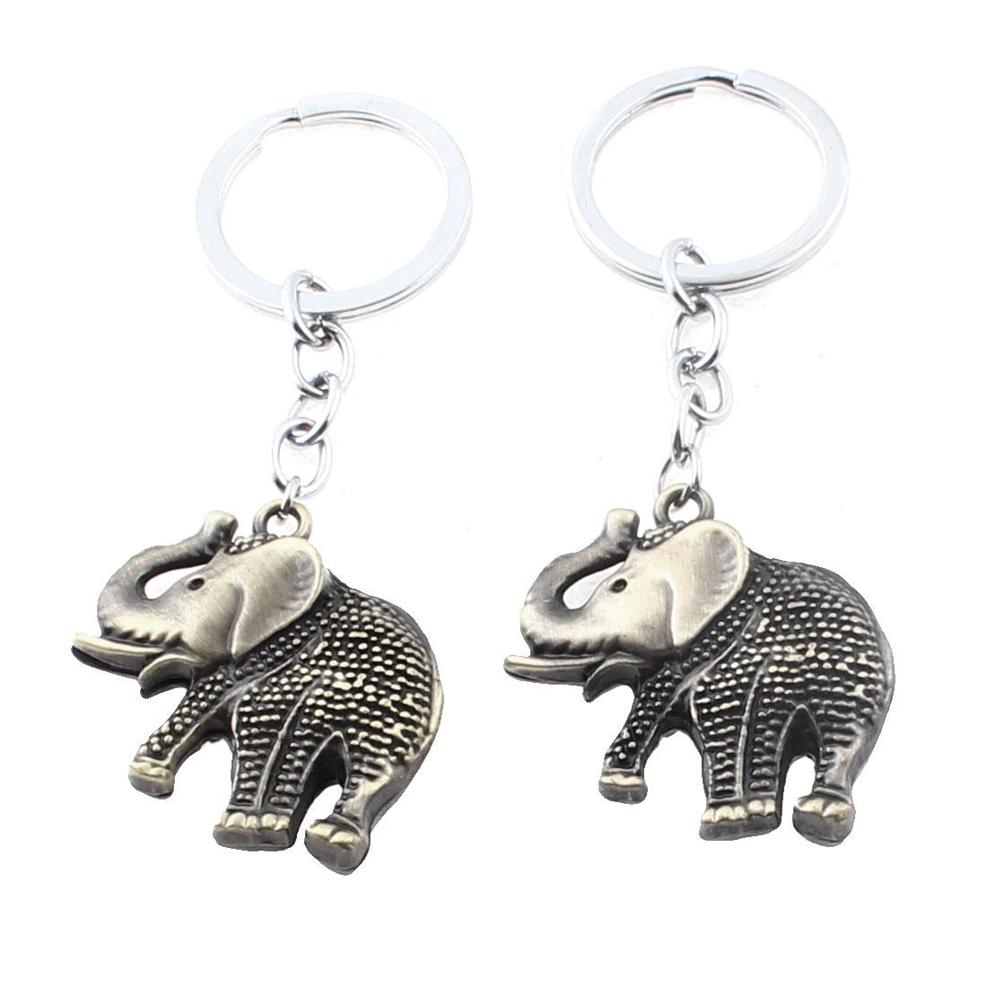 Metal Elephant Shaped Pendant Keychain Keyring Key Holder Bronze Tone 2pcs