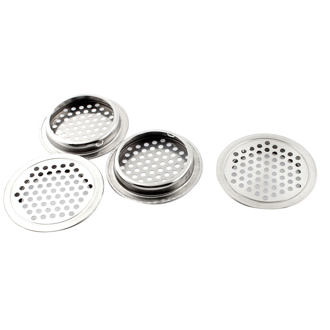 Kitchen Cabinet 65mm Dia Round Metal Mesh Hole Air Vent Louver Silver Tone 4pcs
