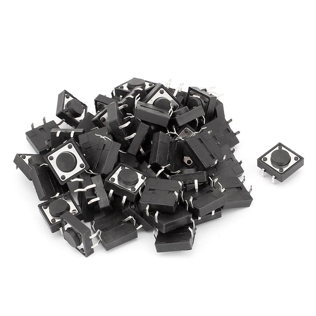 52 Pcs 4 Pins Round Push Button Momentary Tact Switch 12mmx12mmx5mm