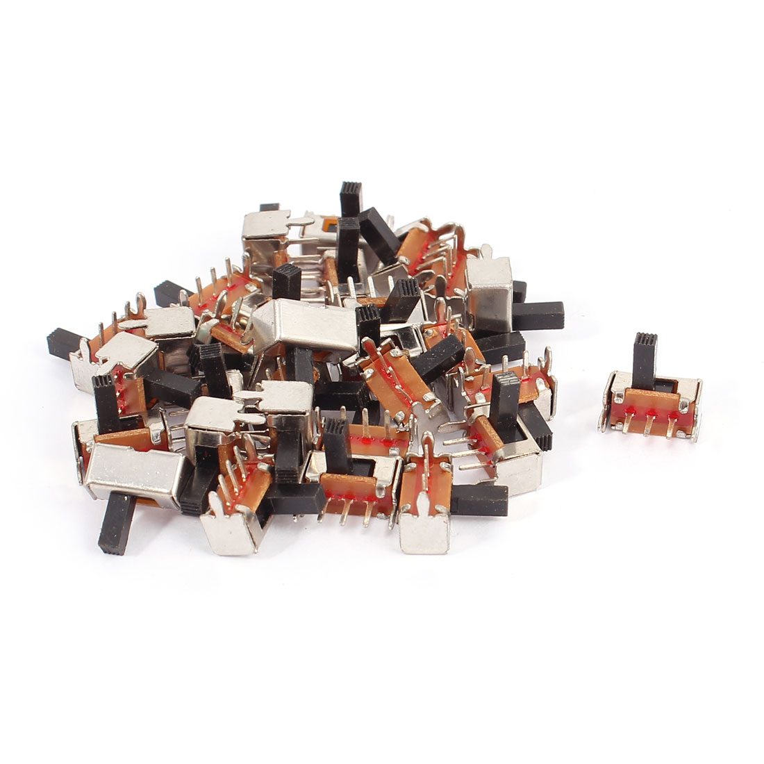 30 Pcs 3 Terminals PCB Mount 2 Position SPDT Right Angle Mini Slide Switch