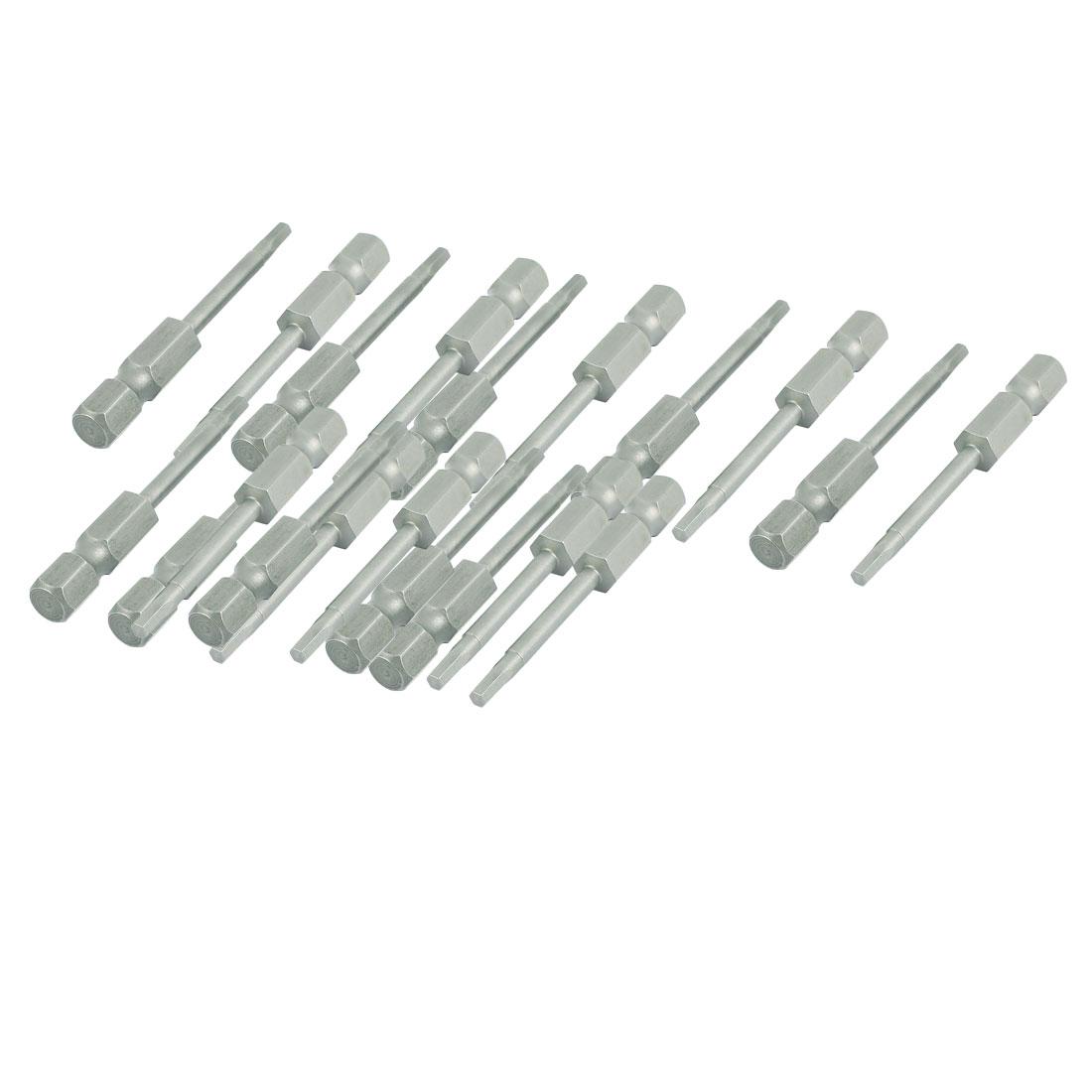 "50mm Long 1/4"" Hex Shank H2.5 Hexagon Magnetic Insert Screwdriver Bits 20pcs"