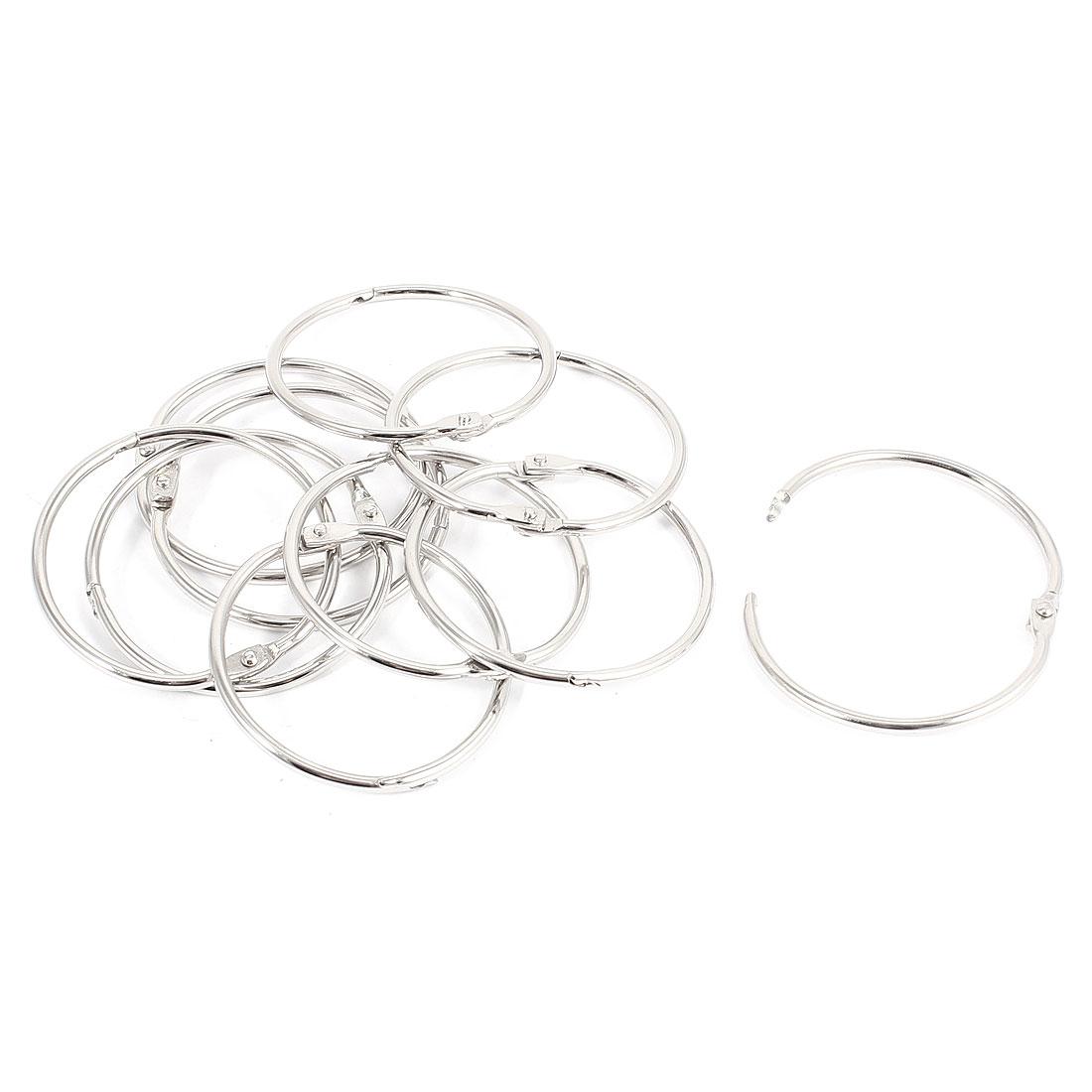 10 Pcs 50mm Inner Dia Metal Loose Leaf Rings Binder Keyrings Silver Tone