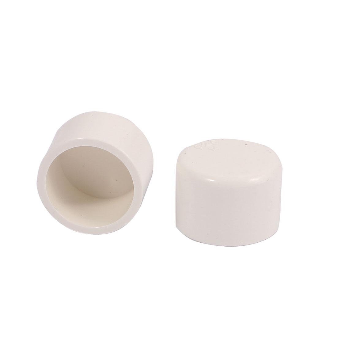 2 Pcs 25mm Inner Dia Water Pipe Fittings PVC Slip End Cap Cover White