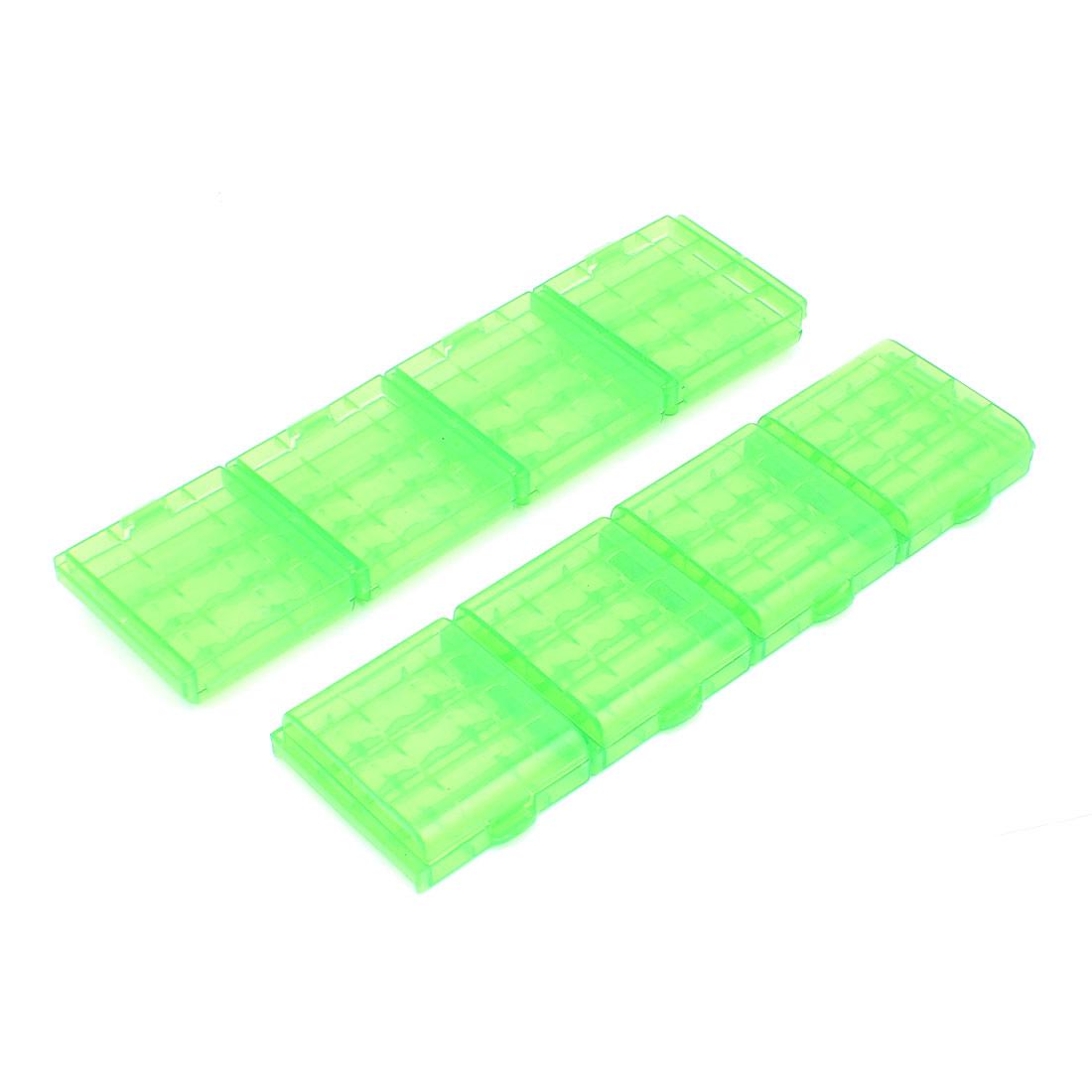 8PCS Plastic Portable Case Holder Storage Box Green for 4 x 1.5V AA Batteries