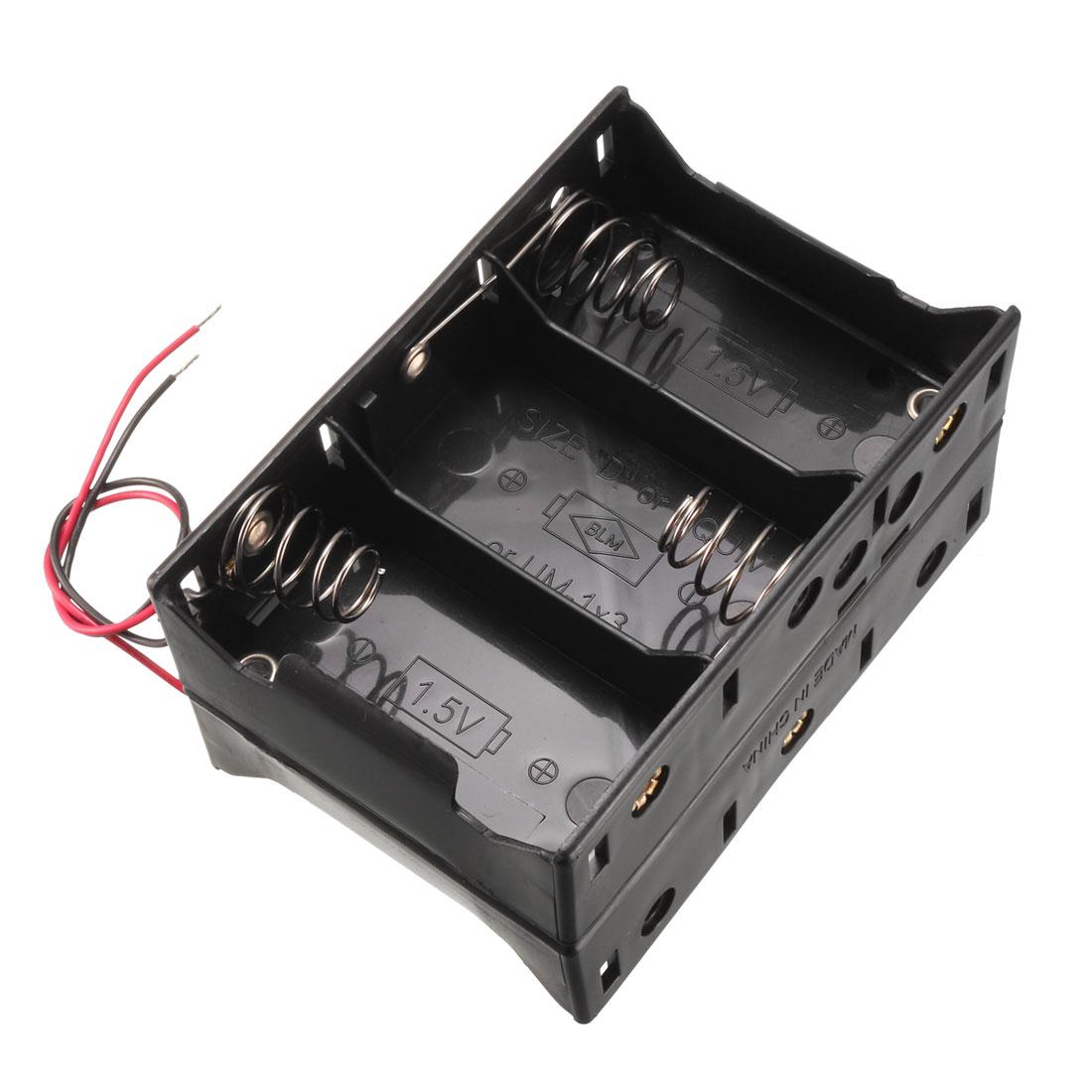 Black Plastics 2 Wires Two Layers 6 x 1.5V D Batteries Holder Case