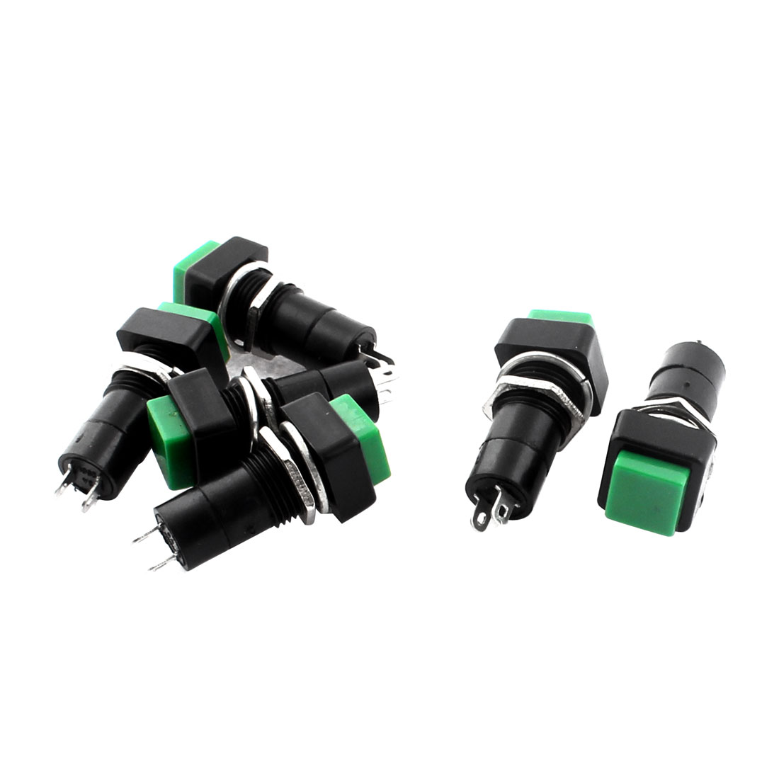 250V 3A SPST 2 Terminals Latching Square Head Push Button Switch Green 6pcs