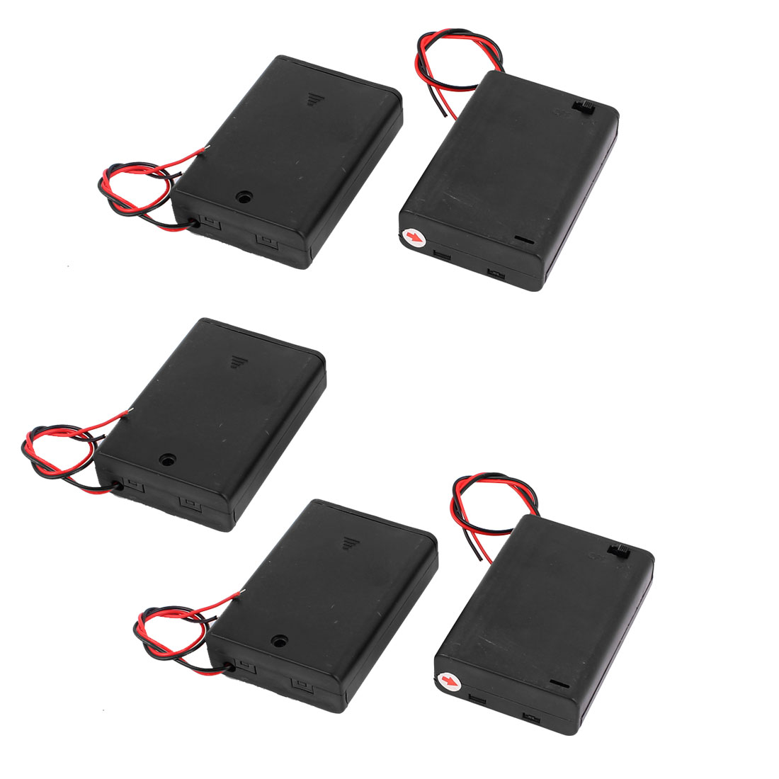 5PCS ON/OFF Switch 2 Wires Batteries Holder Box w Cover for 3 x 1.5V AA Battery
