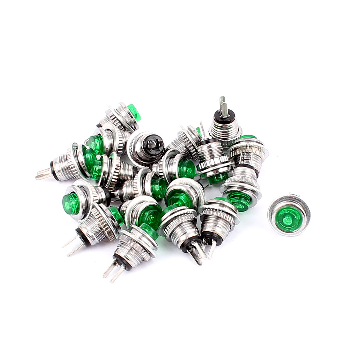 20 Pcs SPST NO Momentary Micro Push Button Switch Green for Electric Torch