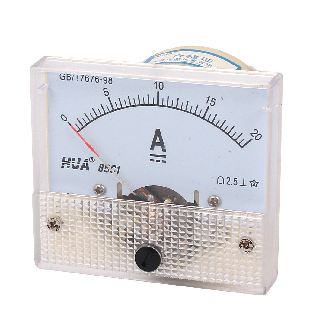 DC 20A Ampere Meter Current Analog Panel Meter Ammeter Gauge 0-20A Class 2.5 White