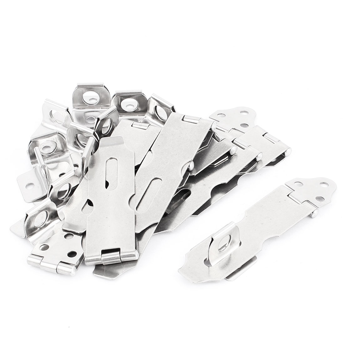 12 Pcs NO.3 Cupboard Safety Padlock Door Latch Silver Tone Metal Hasp Staple 9.5cm