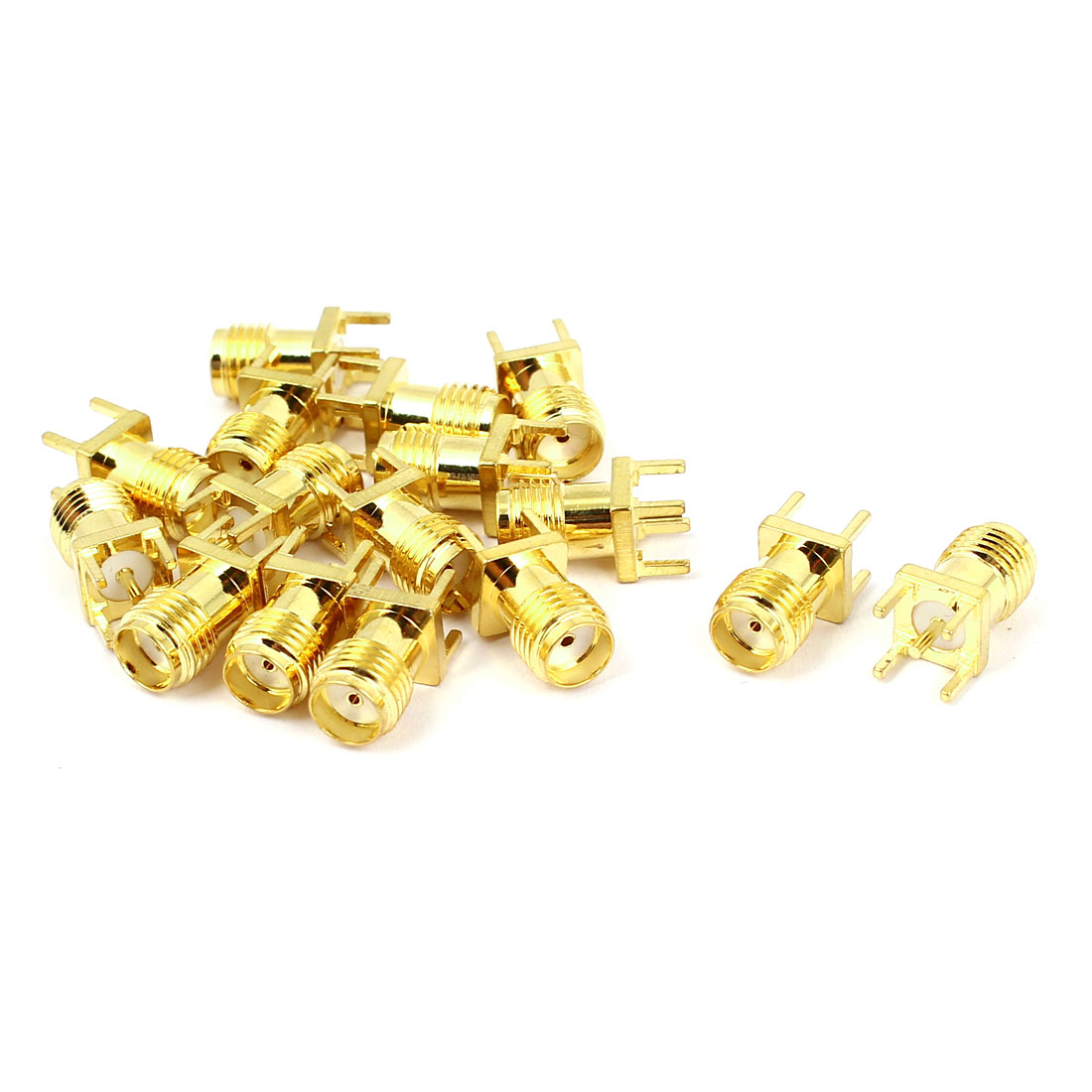 15pcs Gold Tone RP SMA Male Jack Solder PCB Clip Edge Mount RF Adapter Connector