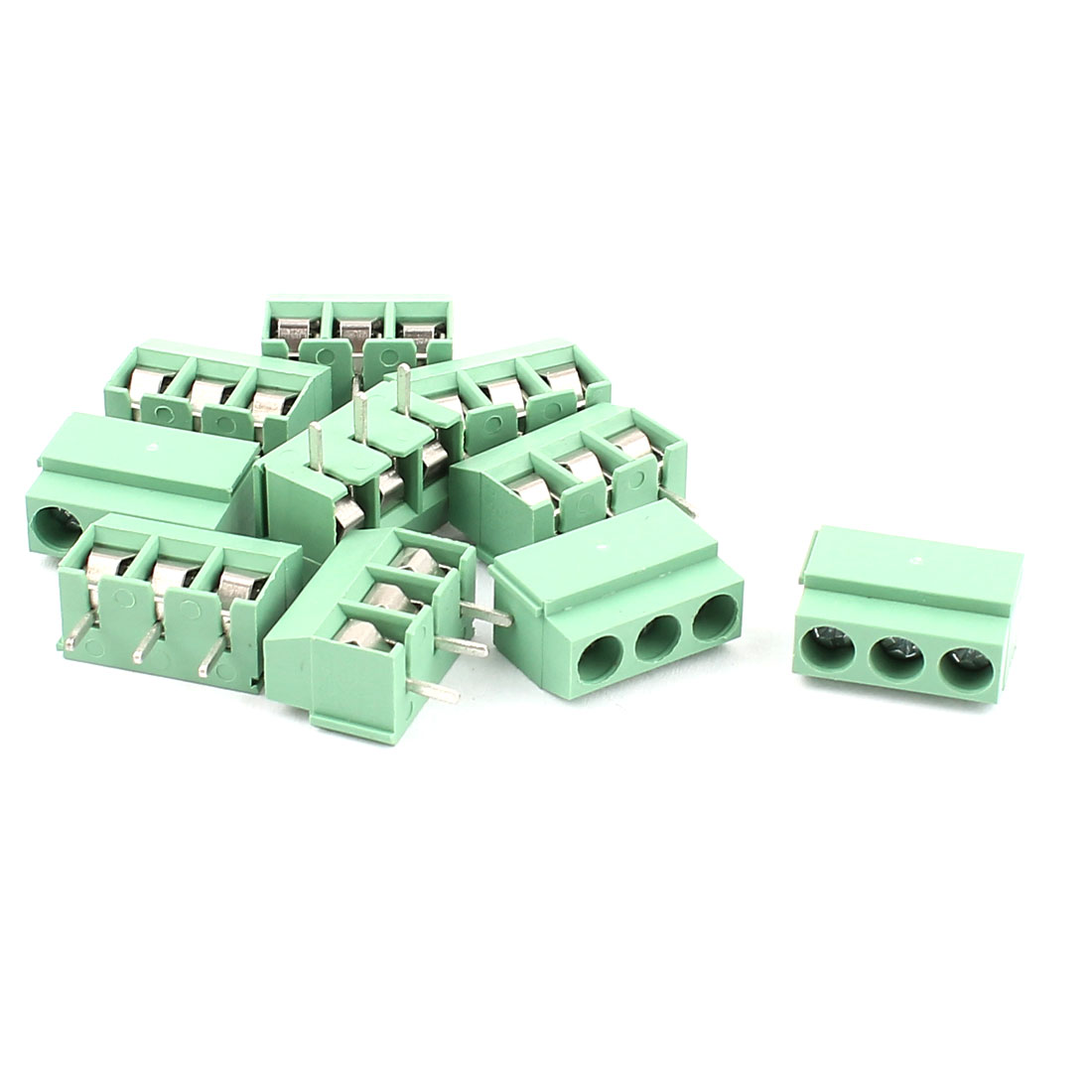 10 Pcs 5mm Pitch Screw Terminal Block Connector Green for PCB Mounting