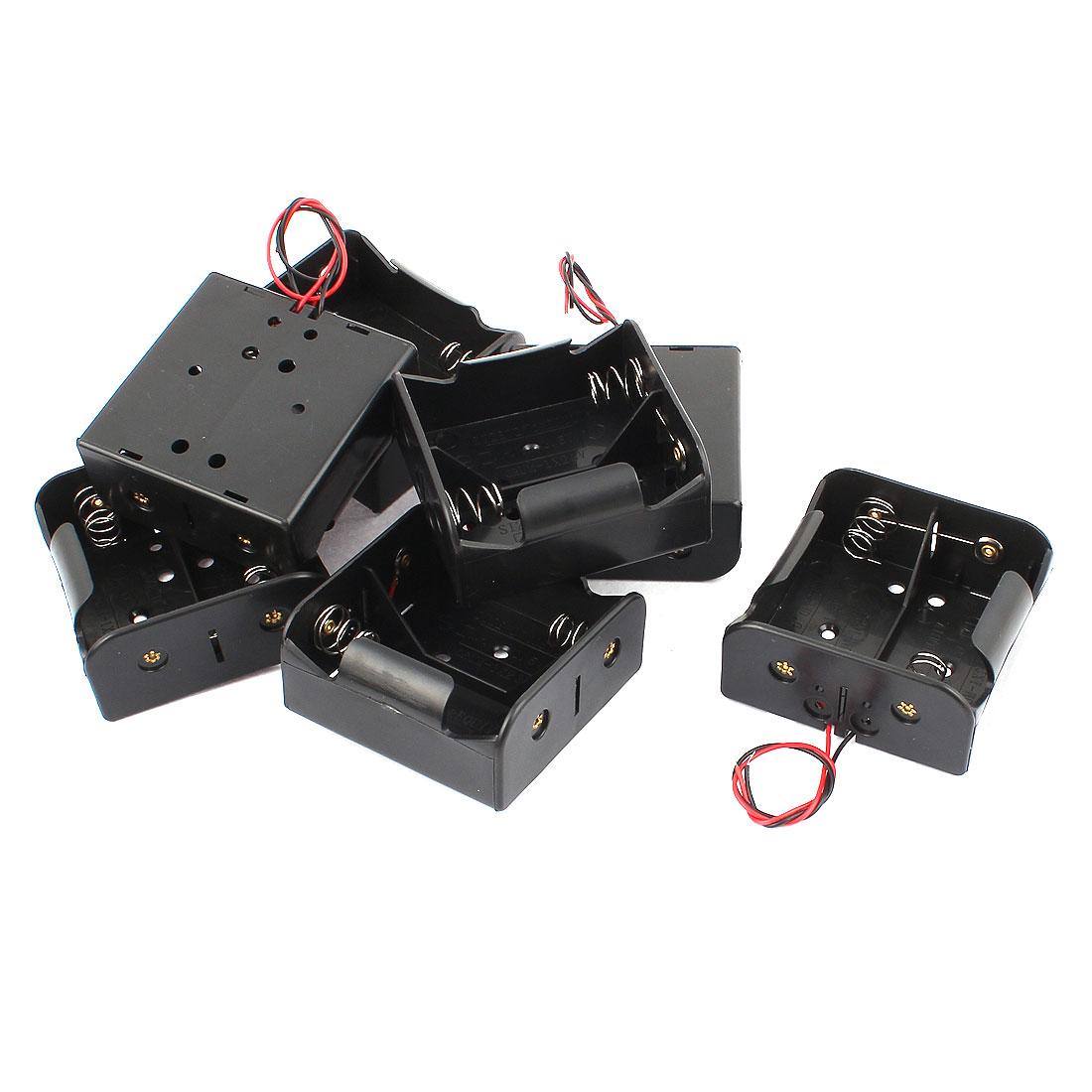 7 Pcs Black Plastic 1.5V D Size Battery Cell Case Holder Battery Case