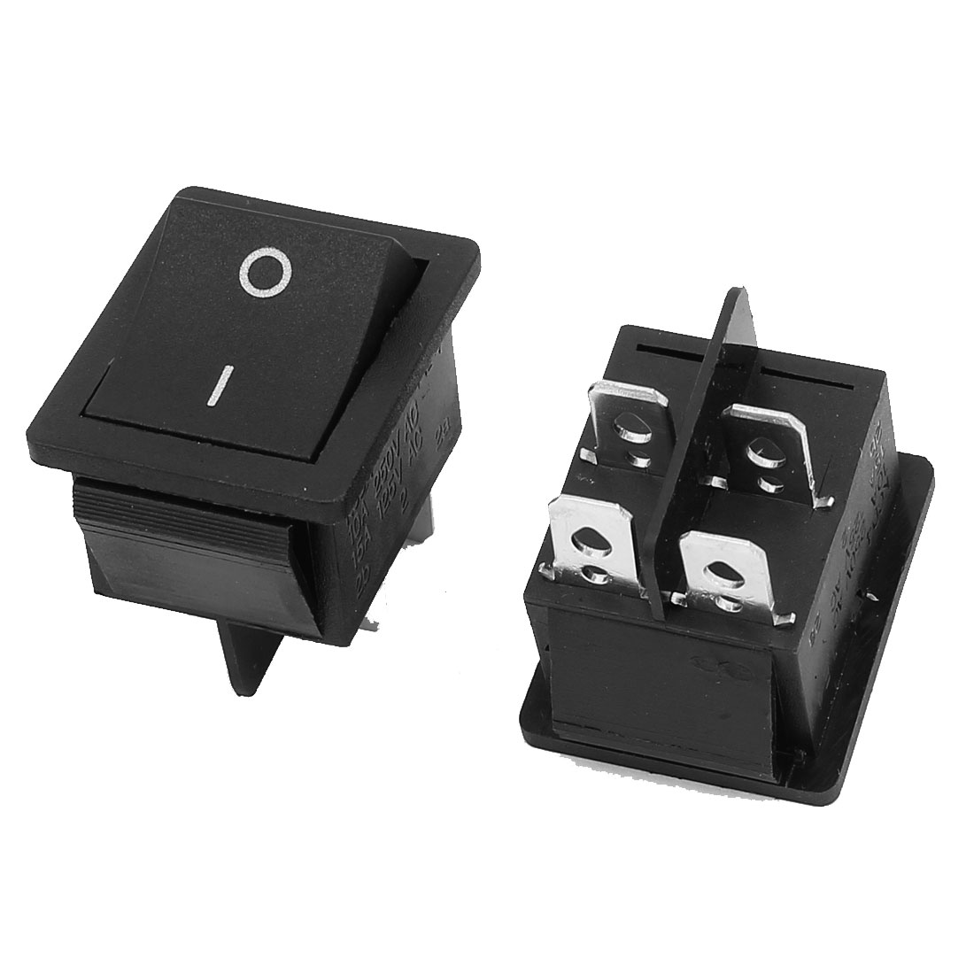 2 Pcs 2 Position On-Off DPST Boat Rocker Switch 10A 250VAC 15A 125VAC