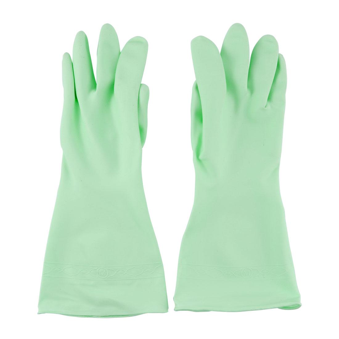 Housework Multi Purpose PVC Dishwashing Cleaning Gloves 22cm Girth M Green Pair