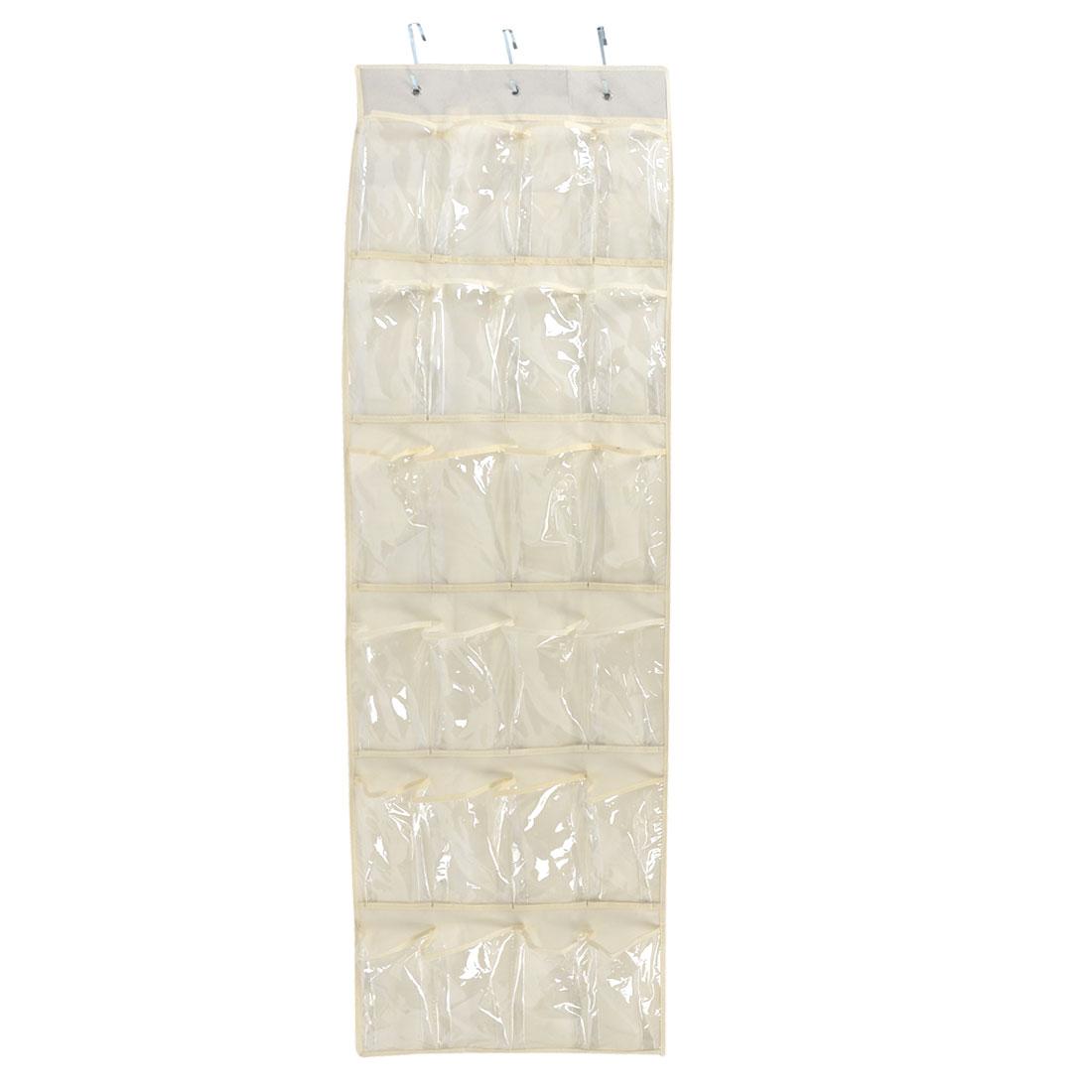 Wall Door Closet 24 Pockets Hanging Storage Bag Case Organizer Beige