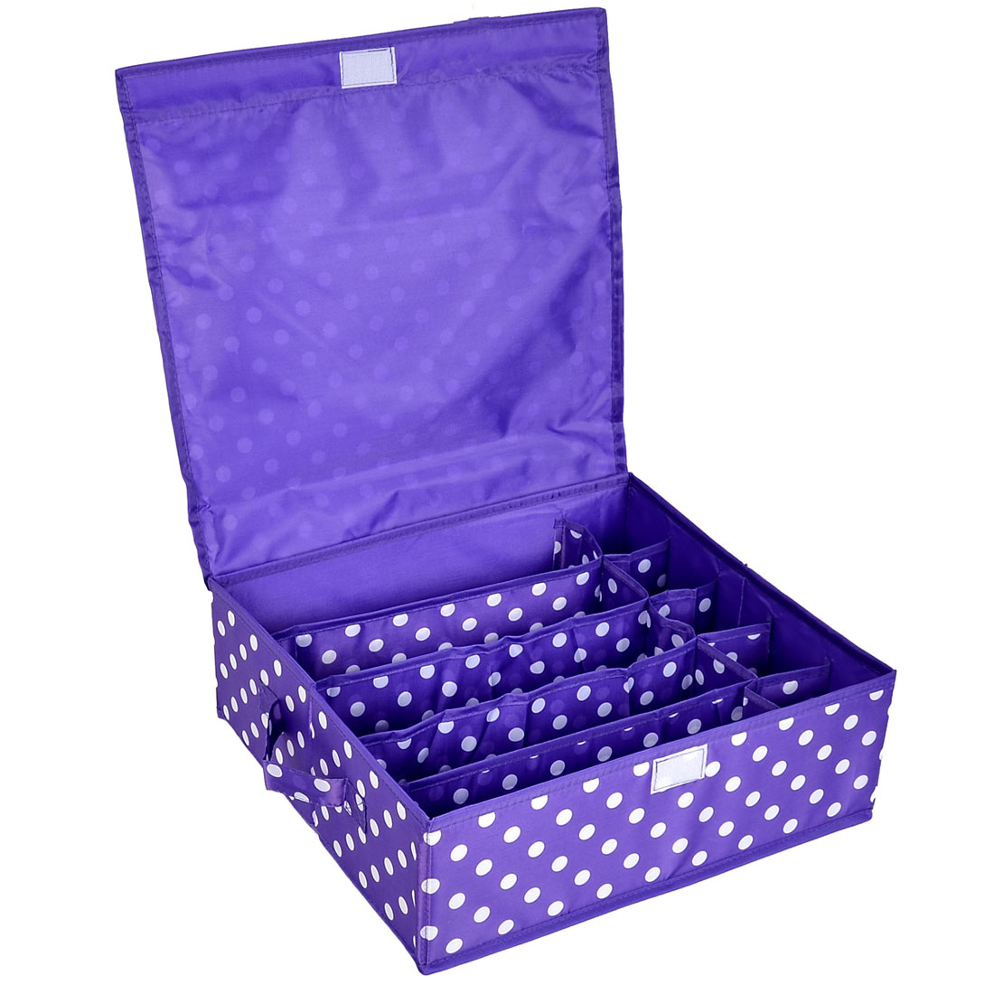 Household Dots Pattern 10 Compartments Storage Bag Packing Case Purple