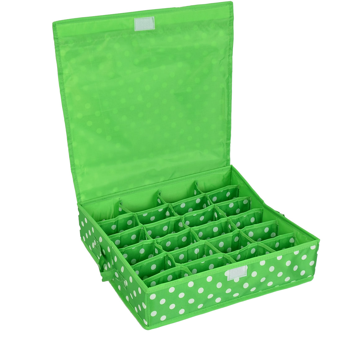 Household Dots Pattern 24 Compartments Storage Bag Packing Case Green