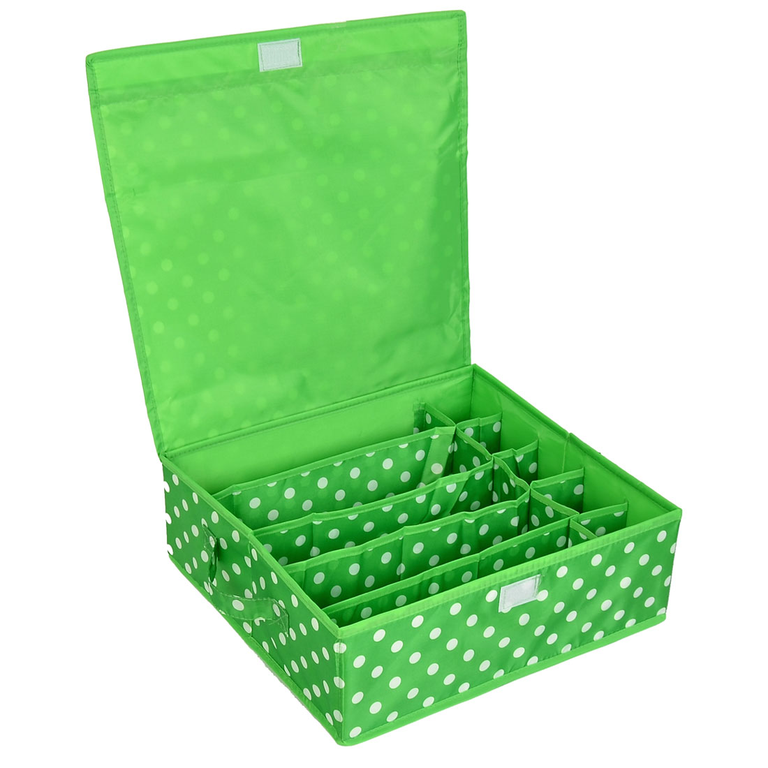 Household Dots Pattern 10 Compartments Storage Bag Packing Case Green