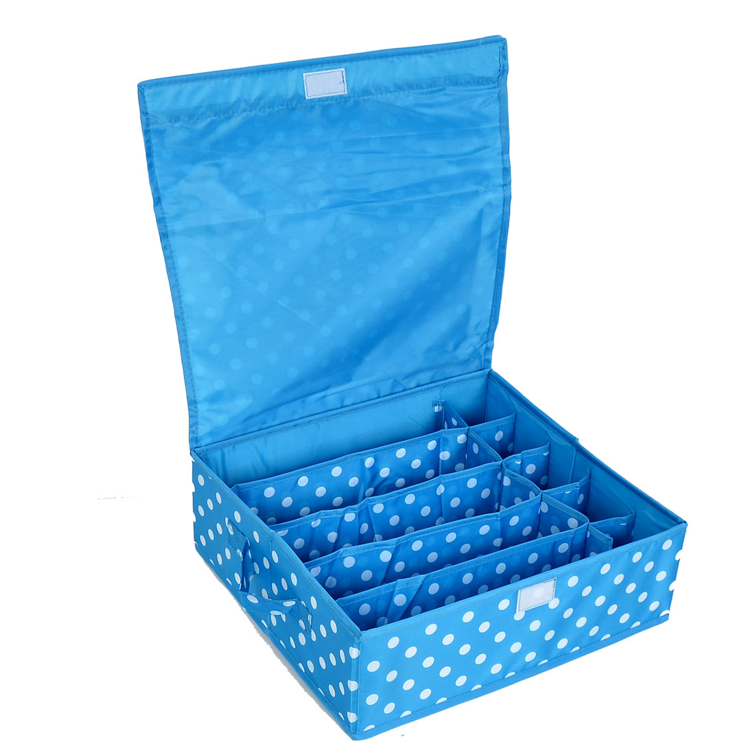 Household Dots Pattern 10 Compartments Storage Bag Packing Case Blue