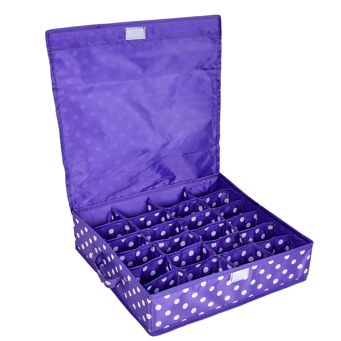 Household Dots Pattern 24 Compartments Storage Bag Packing Case Purple