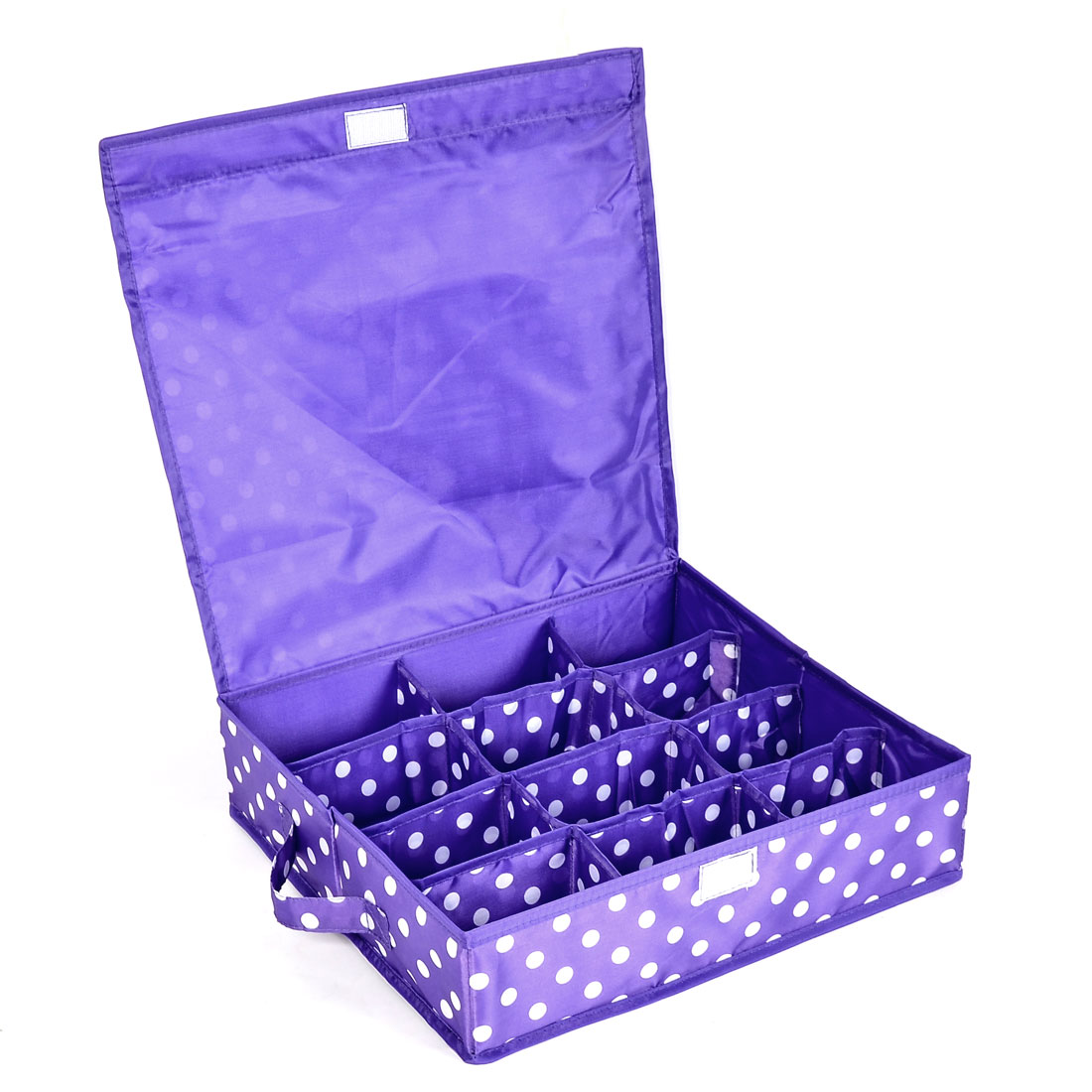 Household Dots Pattern 12 Compartments Storage Bag Packing Case Purple