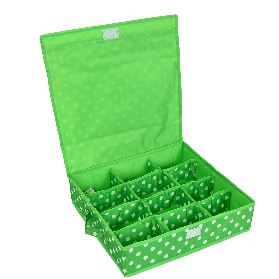 Household Dots Pattern 12 Compartments Storage Bag Packing Case Green