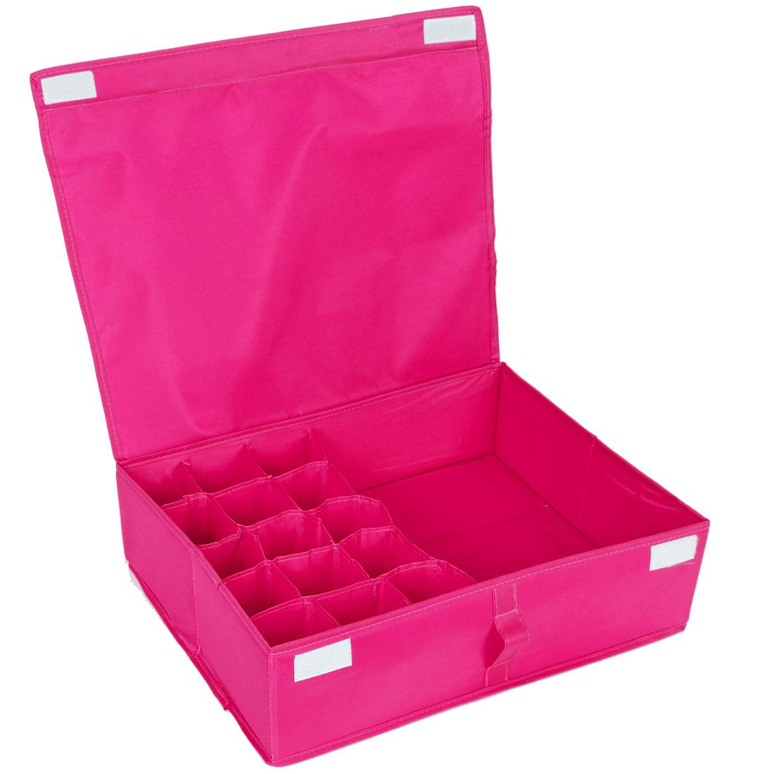 Clothes Briefs Underwear 16 Compartments Organizer Storage Box Bag Fuchsia