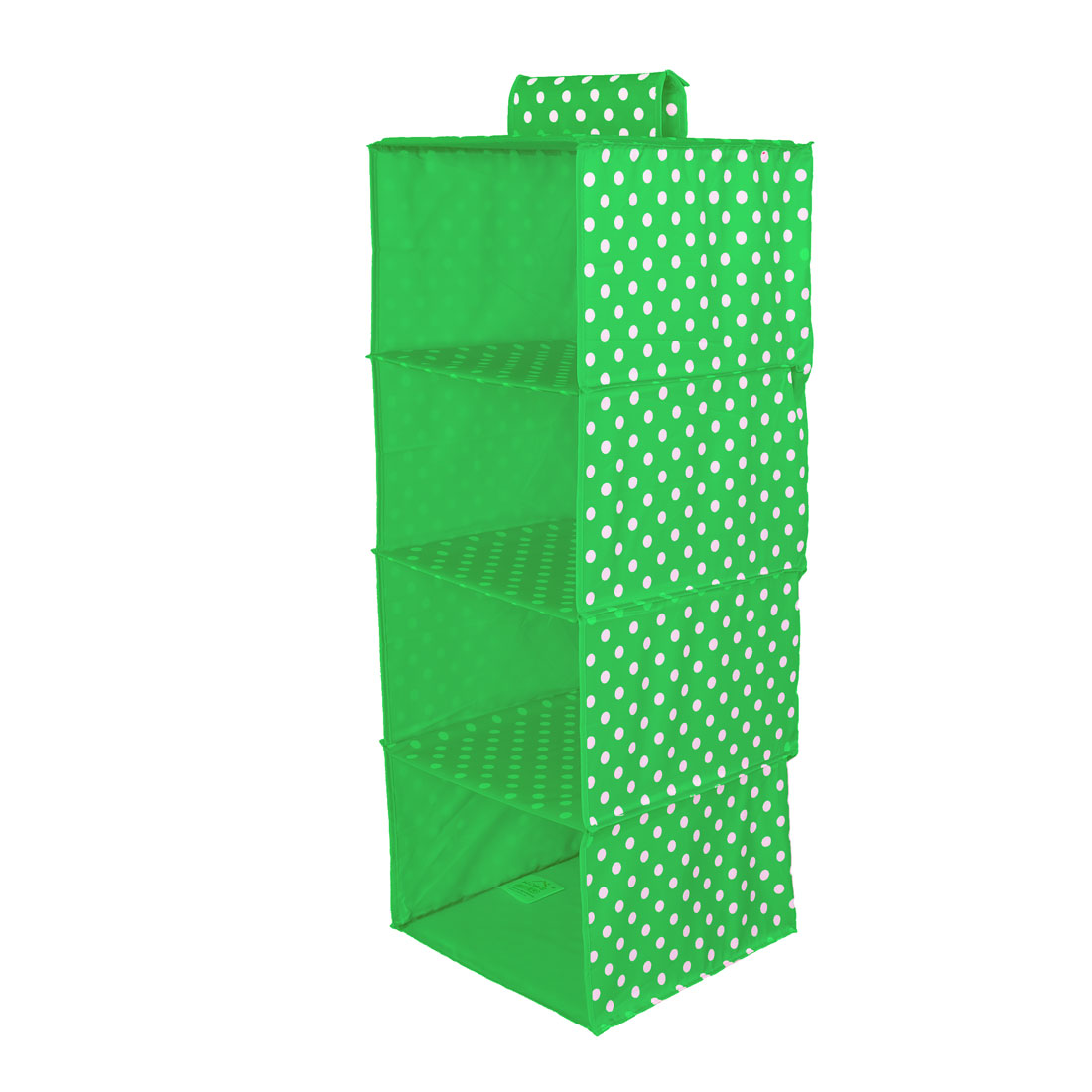 Foldable 4 Compartments Dots Pattern Clothes Underwear Organizer Storage Box Green