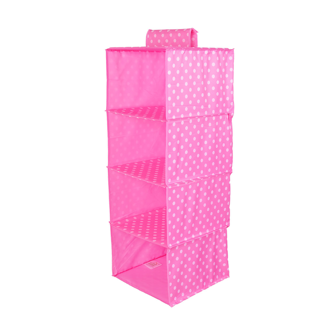 Foldable 4 Compartments Dots Pattern Clothes Underwear Organizer Storage Box Pink