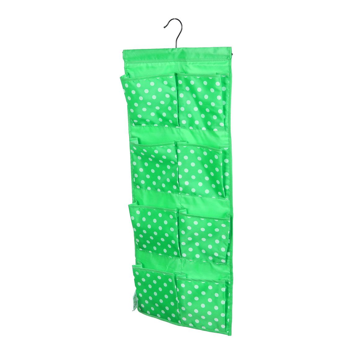 Dots Pattern Wall Door Closet 8 Pockets Hanging Storage Bag Case Green
