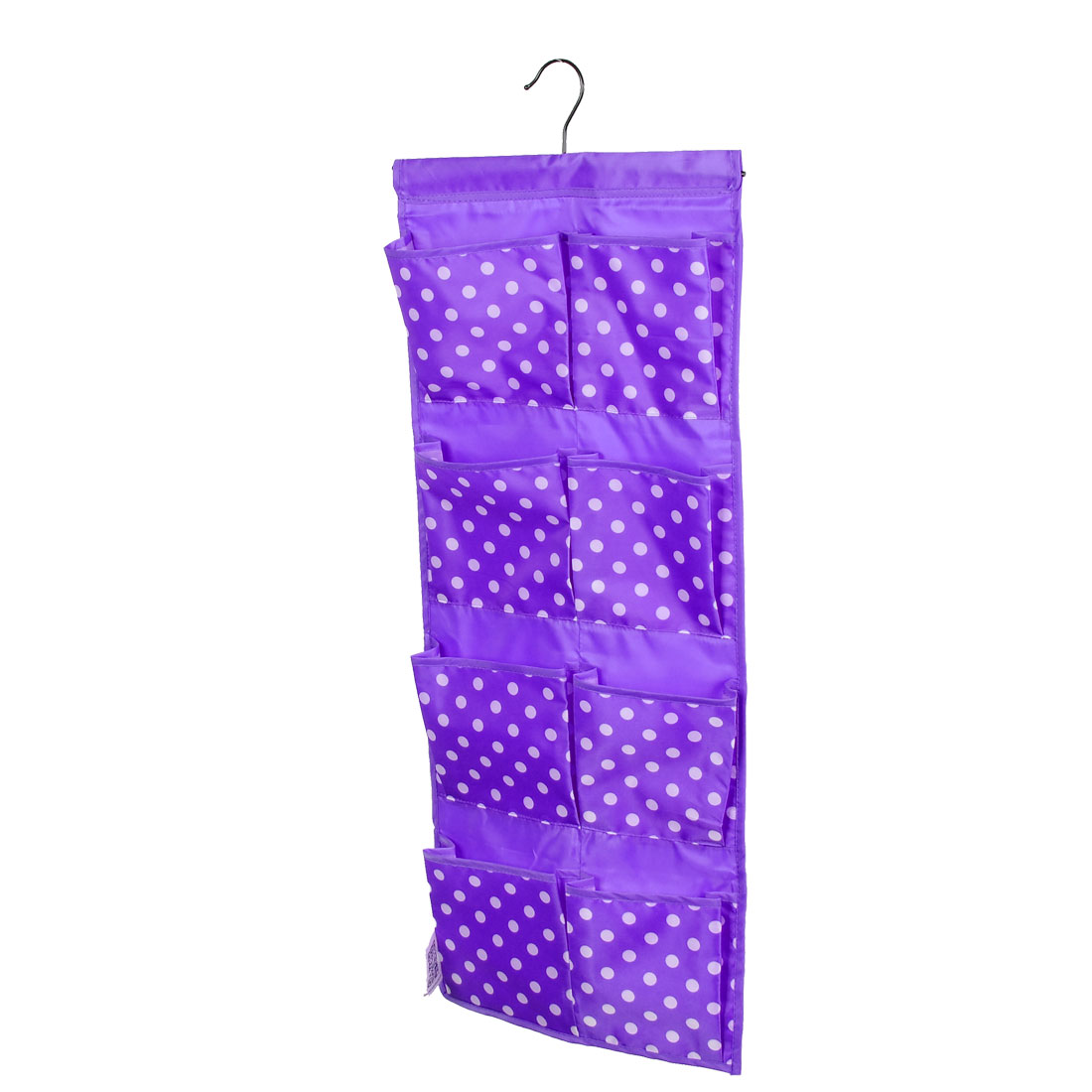 Dots Patten Wall Door Closet 8 Pockets Hanging Storage Bag Case Purple