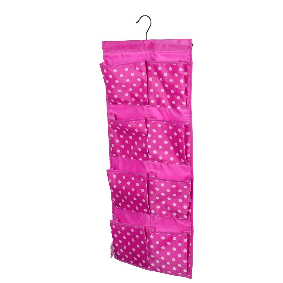 Dots Patten Wall Door Closet 8 Pockets Hanging Storage Bag Case Fuchsia