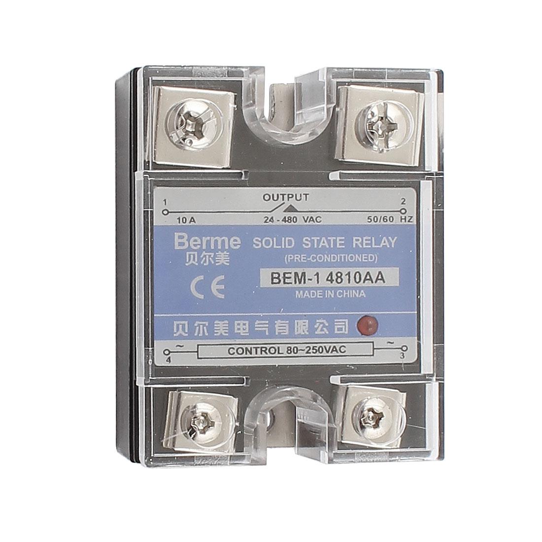 Solid State Relay Module BEM-1 4810AA AC-AC 10A 80-250VAC/24-480VAC